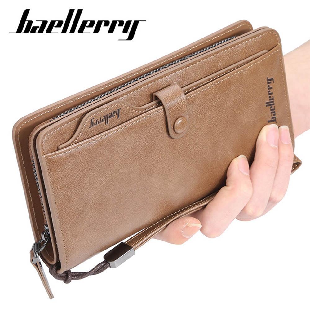 Baellerry Men Long Fashion Wallets Desigh Zipper Card Holder Leather Purse Solid Coin Pocket High Quality Male Purse