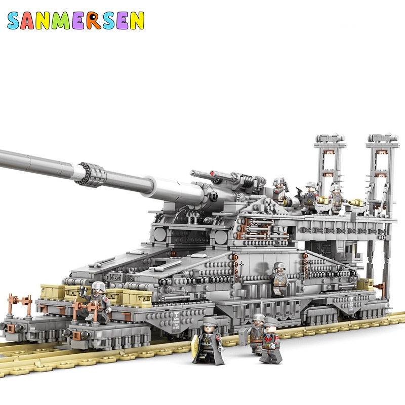 3846PCS Heavy Gustav Cannon 1:72 Building Blocks Model High Difficulty Classic MOC Brick Railgun Military Toys For Kid Adult