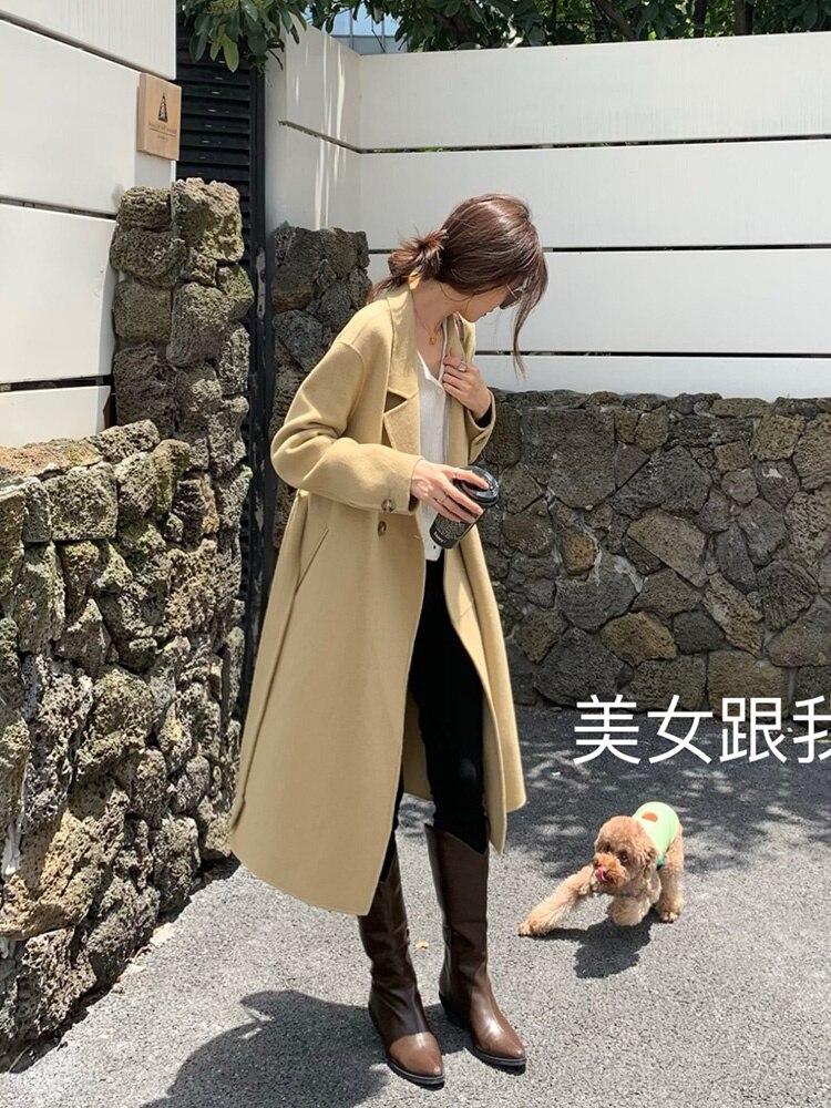 Trench Coat Romani Manor Wool Coat Black Small Medium Long Double-sided Cashmere Tweed Coat Female