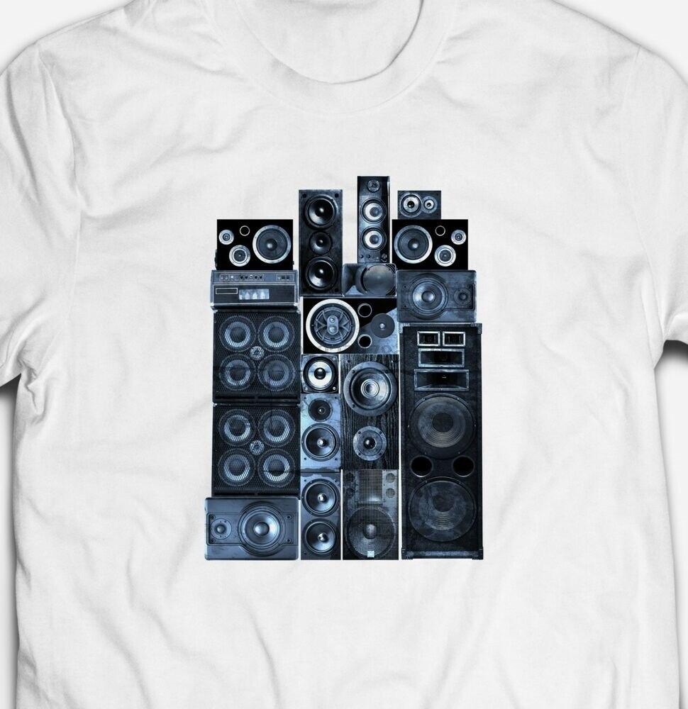 Camiseta de algodón 100% para hombre altavoces HI-FI estéreo música fuerte RETRO VINTAGE