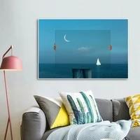 Affiche murale avec bateau et ocean bleu  Art nordique  veilleuse  paysage  peinture sur toile  photos  decoration moderne de salon  maison