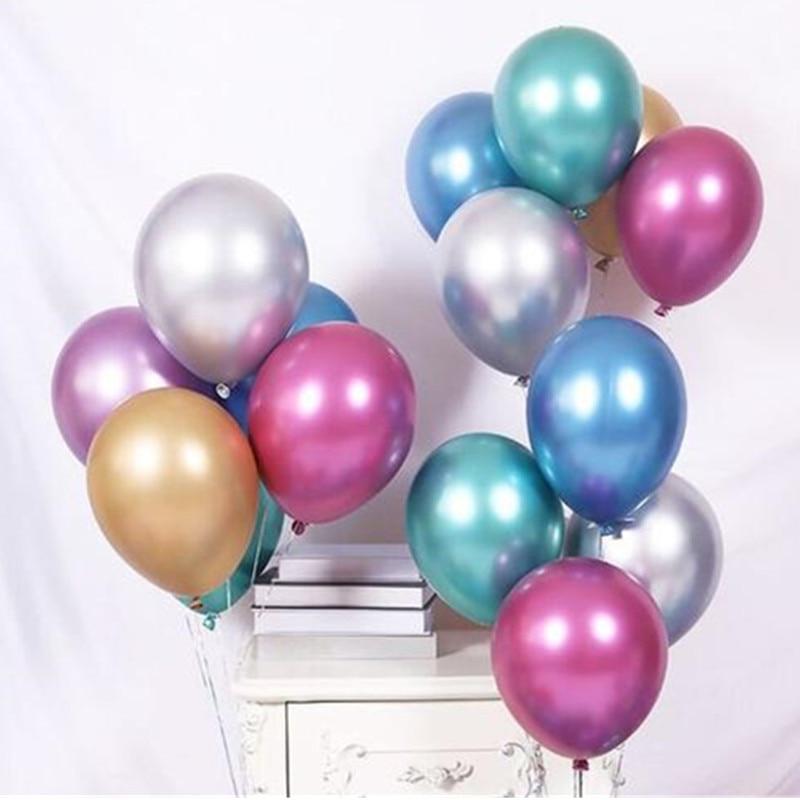 10pcs12 XXYYZZ polegada chrome metal liso pérola redonda mercado hotel de casamento balão de látex da festa de aniversário decoração