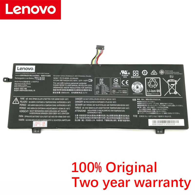 Original de Lenovo L15M4PC0 6135mAh batería del ordenador portátil para Lenovo IdeaPad 710S-13ISK Yi 13 L15S4PC0 L15L4PC0 7,5 V 46Wh
