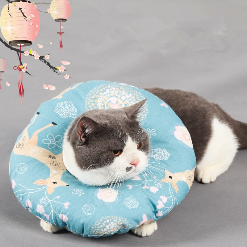 Printed Pet Elizabethan Collar Soft Cotton Dog Cat Adjustable Wound Healing E-Collar Prevent Bite Neck Ring Protection Collar prevent hinder pet dog cat cervical collar injured surgery wound training infection lick bite grab e collars recovery sleeve