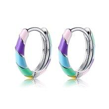 SILVERHOO 925 Silver Earrings For Women Round Shaped Rainbow Hoop Earrings Fine Jewelry Valentine's