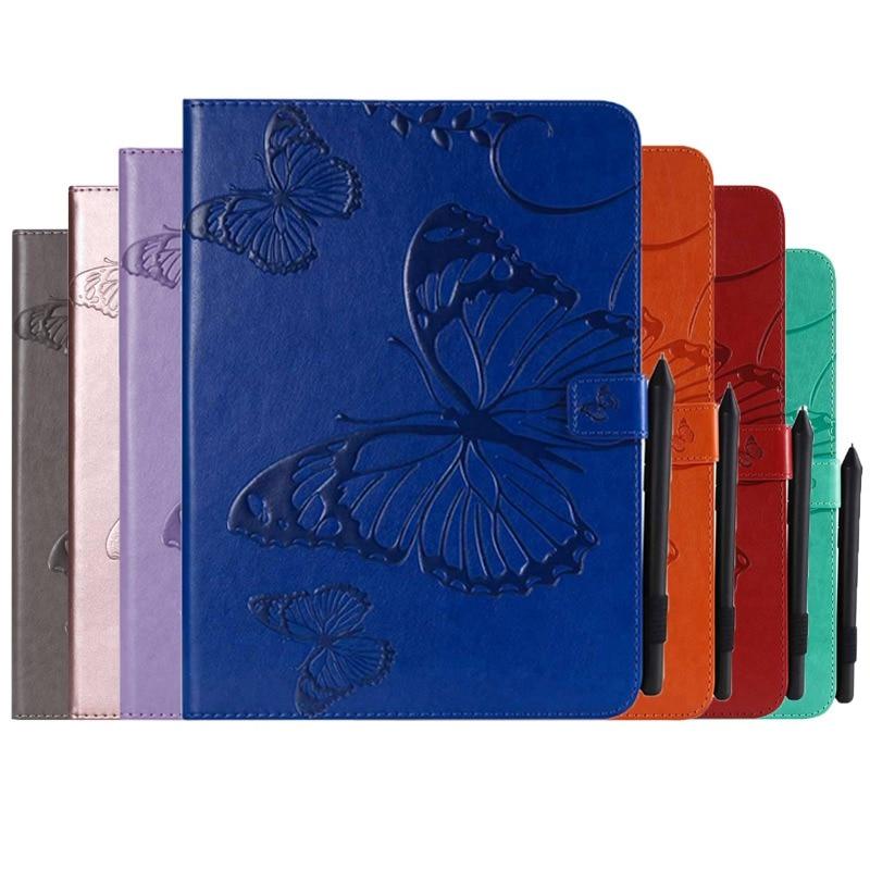Funda de cuero PU mariposa en relieve para Samsung Tab A 10,1 2019 SM-T510 SM-T515 T510 T515 funda con ranura para tarjeta para tableta + película + pluma