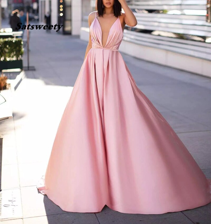 Sexy Pink A-Line Prom Evening Dresses 2021 Vintgae Spaghetti Backless Formal Party Gown Cheap Plus Size V-Neck вечерние платья