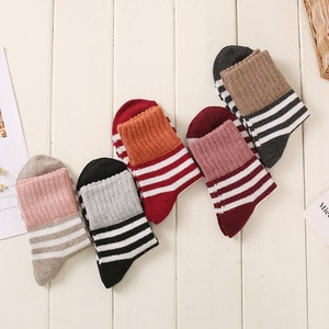Five pairs of new terry autumn and winter plus velvet warm ladies socks thickened simple casual high-end wool ladies stockings