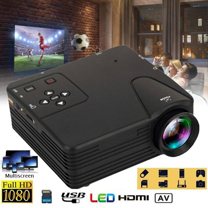 1080P Mini proyector LED 12V 24W de Audio USB proyector portátil de medios en el hogar Video reproductor para exterior teatro cine Multimedia