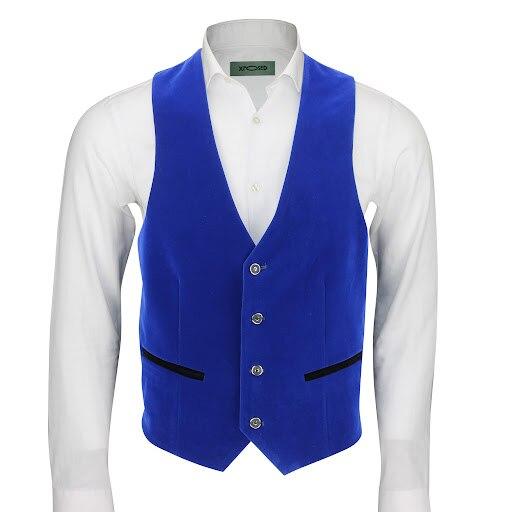 Мужской синий бархатный Повседневный жилет для выпускного вечера, двубортный цельный мужской костюм, жилет с V-образным вырезом, повседневн... мужской двубортный жилет с узором елочка