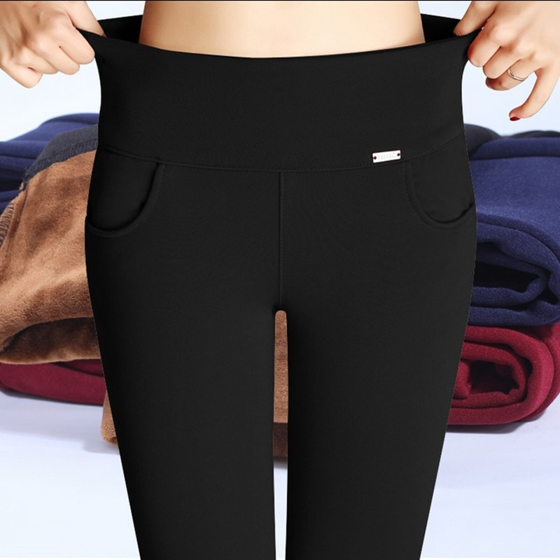 WKOUD Plus Size S-XXXXL Fleece Trousers Women Winter Warm Pencil Pants High Waist Stretch Thickening Leggings OL Pants P8612