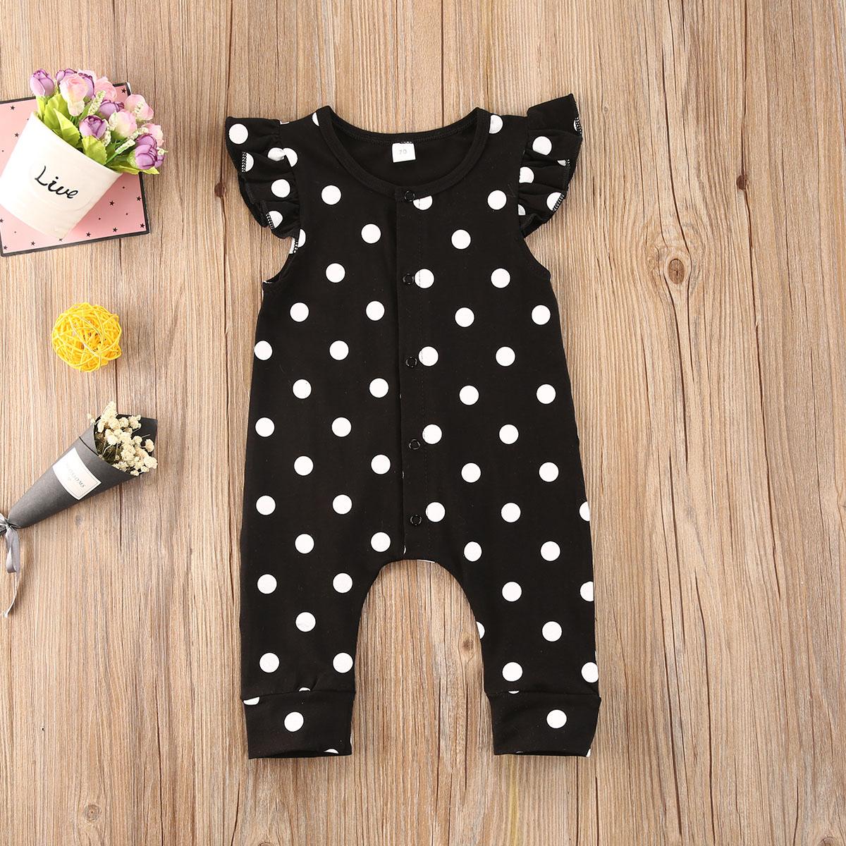 2020 nuevo bebé niñas niños Polka Dots Crewneck Flounced Sleeve mono 0-18M