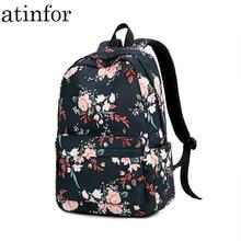 Marca atinfor, estampado de flores, nuevo diseño, mochila de viaje impermeable para mujer, mochila escolar para chica, mochila escolar de 15,6 pulgadas para ordenador portátil