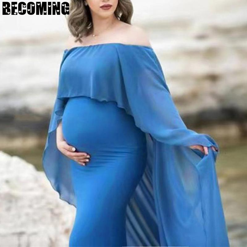 White Maxi Dress Maternity Photography Props Dress Pregnant Chiffon Maternity Dresses For Photo Shoot Pregnancy Dresses 16373 enlarge