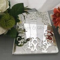 guest book wedding personalized custom mirror guestbook names date cover gift signature decor party white blank favor g014