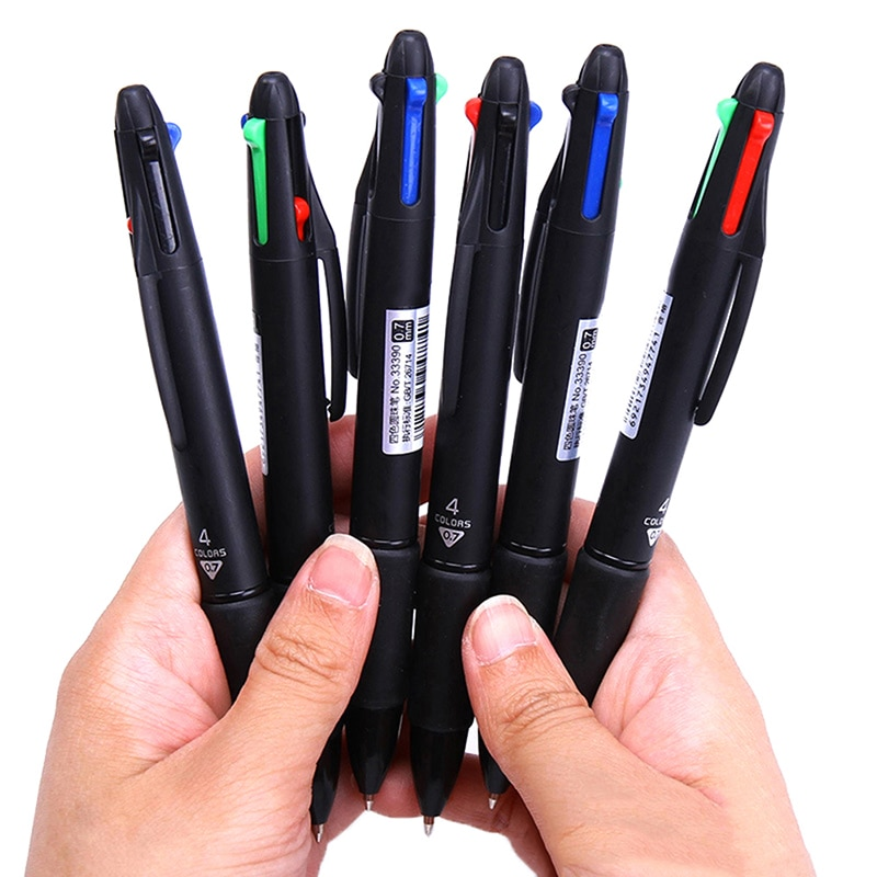 4 In 1 MultiColor Pen Creative Ballpoint Pen Colorful Retractable Ballpoint Pens Multifunction Pen For Marker Writing Stationery delvtch 0 7mm 4pcs set multicolor pen fine point 4in1 colorful retractable ballpoint pens multifunction ball pen office student