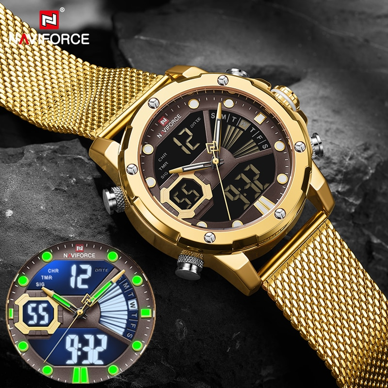 NAVIFORCE Mens Sport Watches Luxury Gold Quartz Steel Strap Waterproof Military Digital Wrist Watch Clock Relogio Masculino 2021