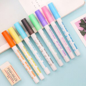 Creativity Colorful Double Line Pens Fluorescent Marker Candy Colored Marker Pens Drawing Student School Art Stationery Supplies