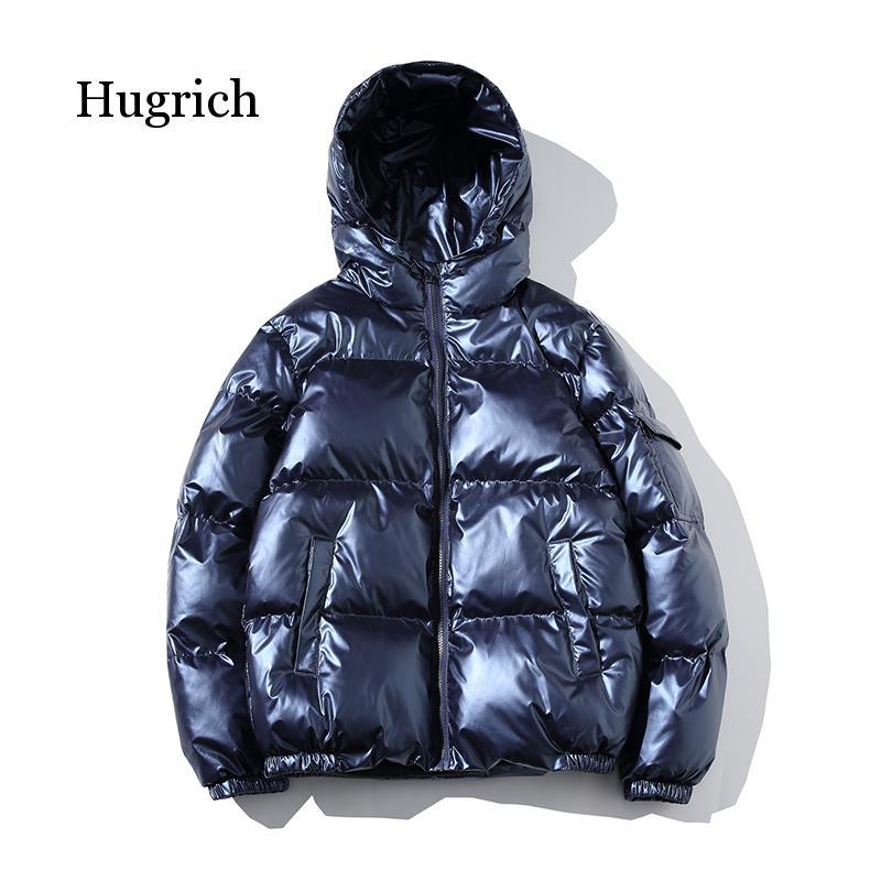 Зимняя мужская куртка, толстая теплая парка, серебристые яркие глянцевые куртки, Модная молодежная свободная хлопковая верхняя одежда с ка...