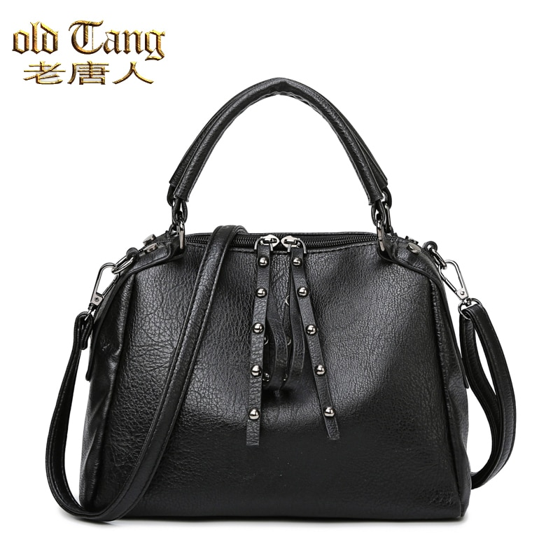 OLD TANG New Retro Double zipper PU Leather Women Shoulder Bags For Women 2020 Messenger Clutch Larg