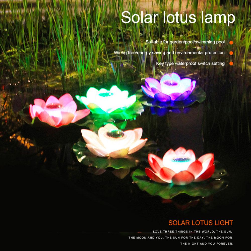 lotus luzes solares paisagem luzes desejando lagoa flutuador de agua lotus luzes