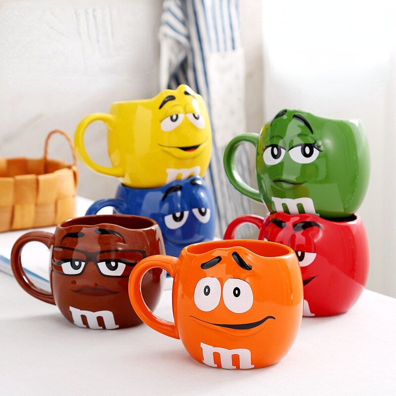 سعة كبيرة أكواب القهوة أكواب شاي سيراميك أصدقاء هدية لطيف التعبير علامة الكرتون درينكوير إرسال ملعقة