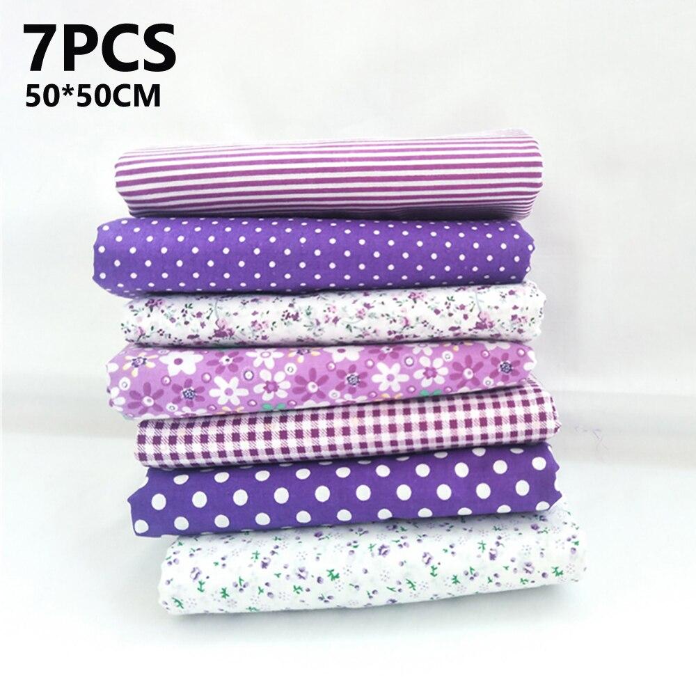 7 unids/set 50*50cm de algodón de Material de tela Floral Paquete de recortes Offcuts acolchando los corazones colgantes que cubren cuadernos