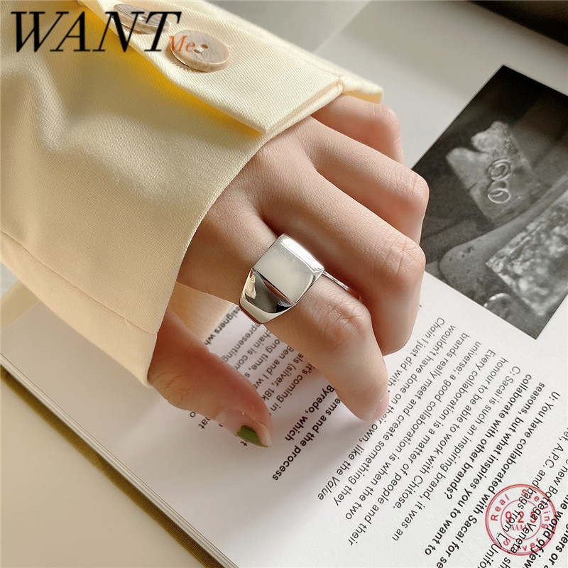 Wantme Punk Echt 100% 925 Sterling Zilver Geometrische Vierkante Glossy Verstelbare Ring Voor Vrouwen Hip Hop Fijne Sieraden Accessoires