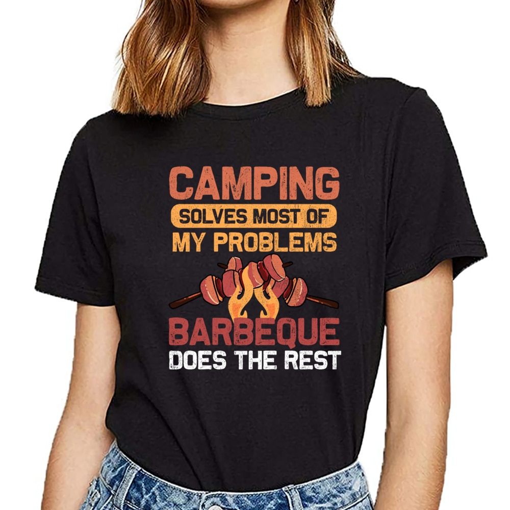 Tops camiseta para mujer camping bbq barbacoa tenting regalo suelto fit cómic camisetas femeninas cortas