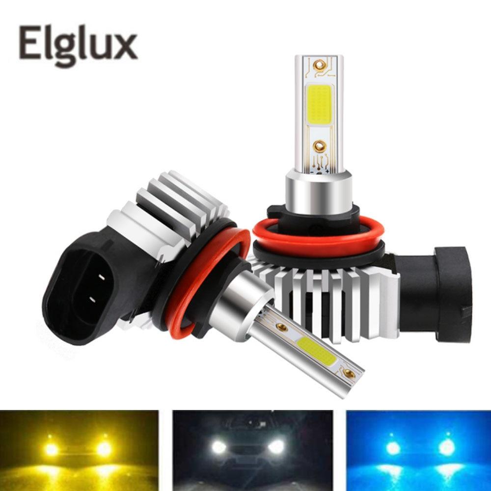 Elglux 12000LM H11 H1 H4 H7 LED Turbo Mini bombillas de faro delantero de coche 80W 6000K 4300K 8000K 9005 de 9006 H8 Auto niebla luces 12V