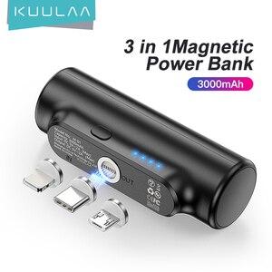 Магнитный внешний аккумулятор KUULAA на 3000 мАч, магнитное мини-зарядное устройство, внешний аккумулятор для экстренного мобильного телефона Xiaomi, портативная Магнитная Внешняя батарея