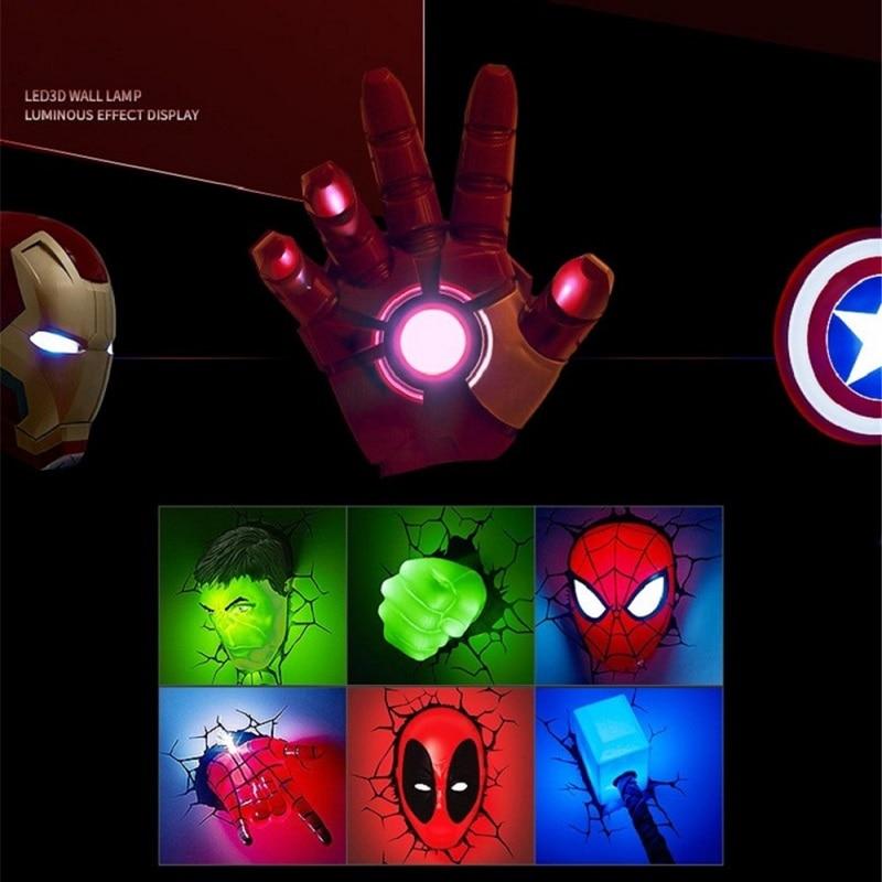 Creative 3D Marvel LED Wall Lamp Decor Avengers Series Iron Man Hulk Captain America Deadpool Night Light Christmas Kids Gifts  - buy with discount