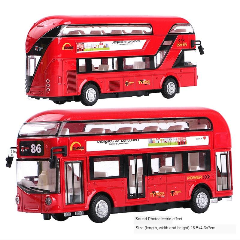 foppapedretti bus Alloy Double Deck Tour Bus Air Conditioning Bus City Bus Model Children Return Force Acousto Optic Toy Car