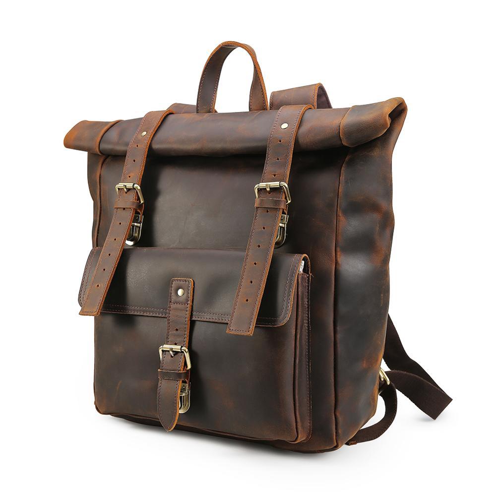 Топ ручной работы кожаный 17 ''рюкзак для ноутбука мужские многофункциональные