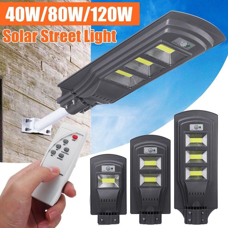 AUGIENB 40 W/80 W/120 W COB LED Luz de calle Solar impermeable PIR Sensor de movimiento + Control remoto lámparas de pared exteriores luces de jardín