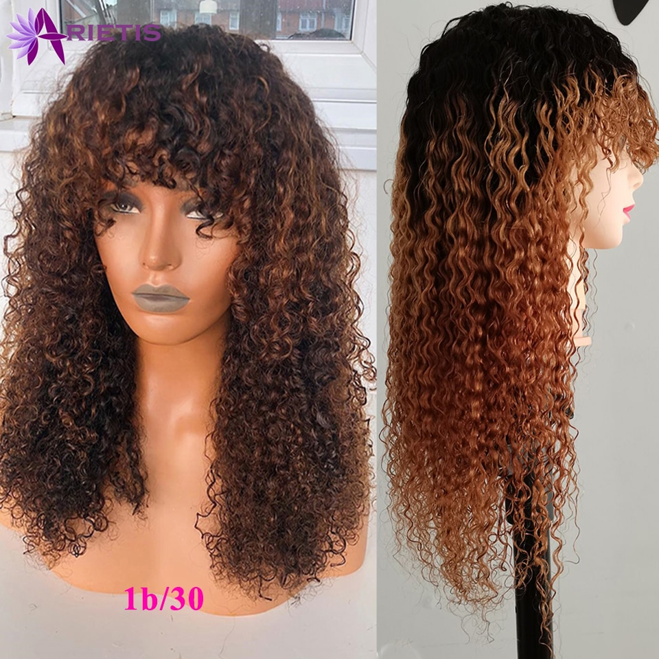 Ombre Curly Human Hair Wigs For Black Women #4 T1b/30 Brazilian Remy Full Machine Made Wig With Bangs Natural Black 8-24Inches