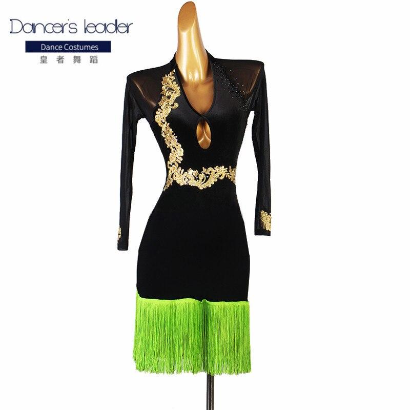 ملابس ممارسة الرقص اللاتينية فستان مرصع بالألماس مُزيّن بشراشيب للسيدات البالغات أزياء منافسة للأداء الراقية