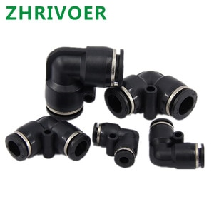 One Touch Push in Air Pneumatic Fitting Quick  Connector Fittings Plastic Gas   Black L Shaped Elbow 4mm to 16mm   OD Hose