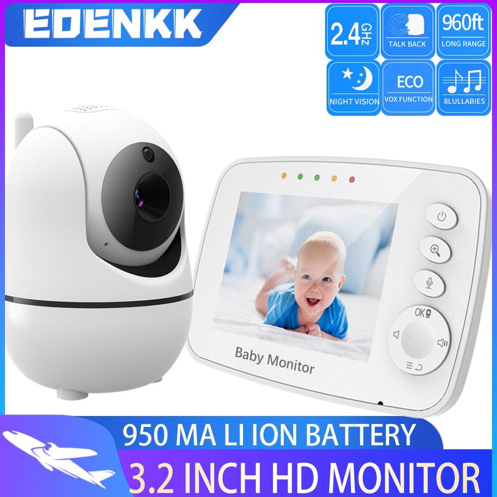 جهاز مراقبة الطفل مع كاميرا ، شاشة LCD مقاس 3.2 بوصة ، مع تقريب/إمالة عن بعد ، رؤية ليلية بالأشعة تحت الحمراء EOENKK (أبيض)