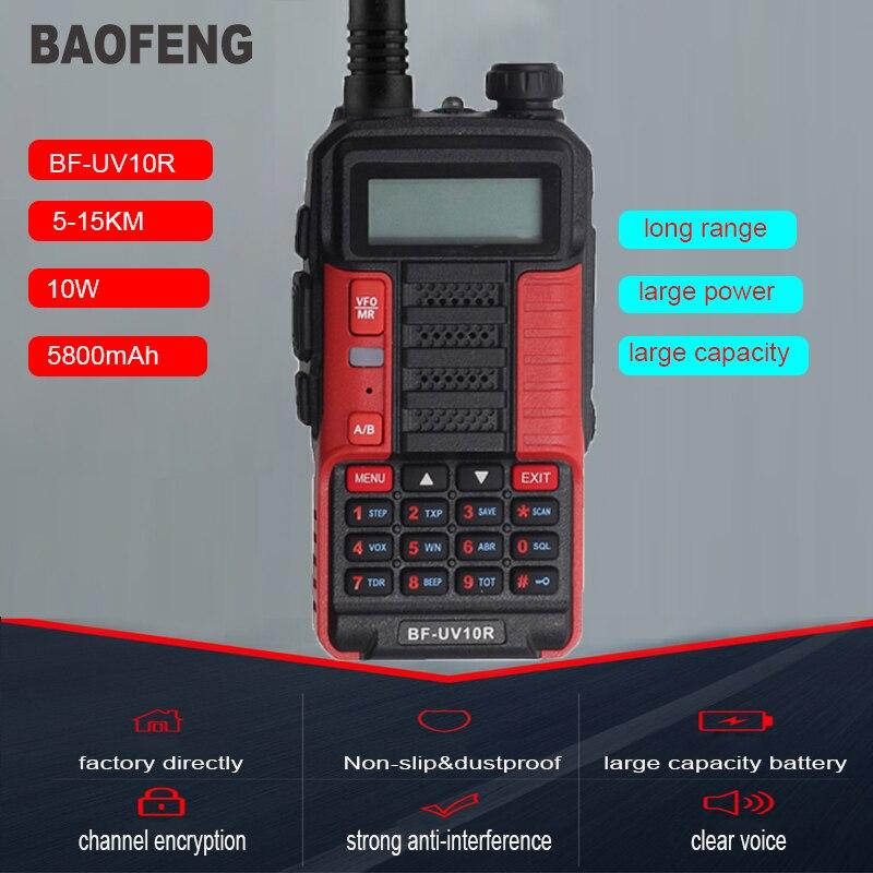 Baofeng oringinal quente BF-UV10R walkie talkie grande potência presunto rádio em dois sentidos uhf vhf banda dupla