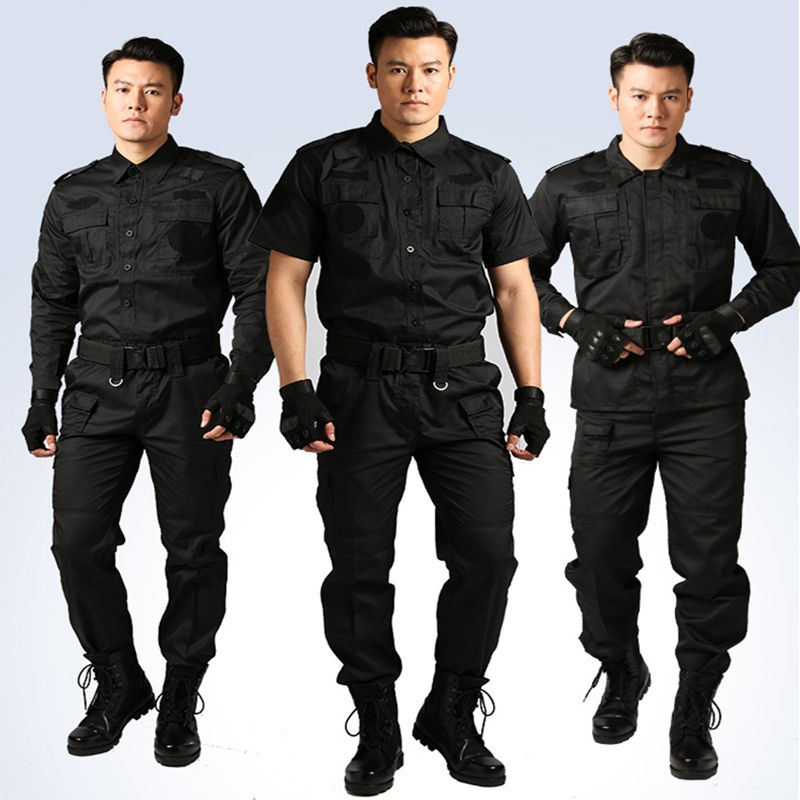 Man Scouting Uniforms Security People Uniforms Short/Long Sleeve Black Work Training Military Workwear Outdoor Tactics Clothes