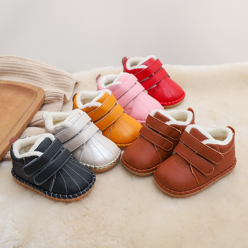 children snow boots winter boys girls boots outdoor cotton fabric shoes waterproof for 30 degree russia warm Winter Infant Toddler Boots Baby Girls Boys Snow Boots Soft Bottom Genuine Leather Warm Plush Outdoor Kids Children Shoes