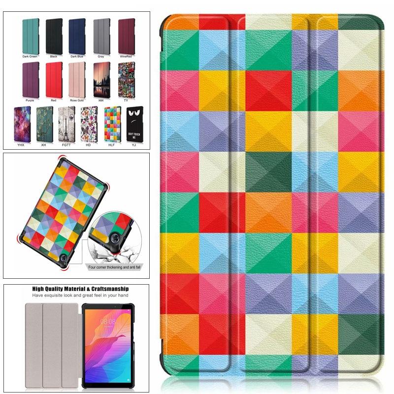 Чехол для Huawei MatePad T8 8,0 ''Чехол-книжка, складываются в три раза Стенд PU кожаный чехол Smart Auto пробуждения крышка для Huawei t8 Kobe2-L09 Kobe2-L03 чехол чехол
