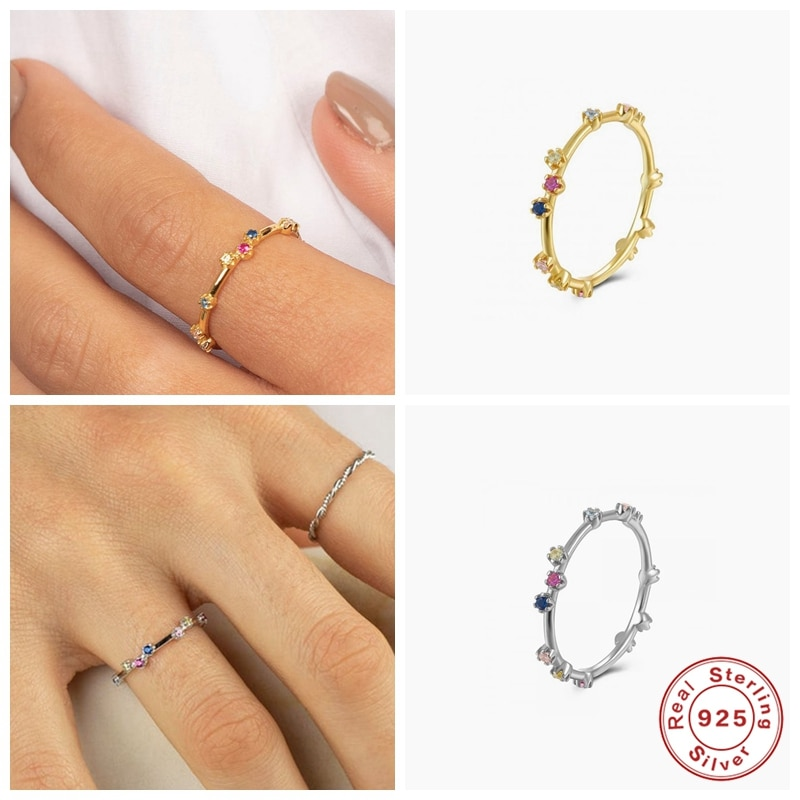 AliExpress - Aide 100% 925 Sterling Silver Ring Jewelry Colorful Ziron Mujer Anillos Finger Rings for Couples Engagement Valentine's Day Gift