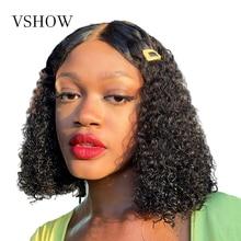 Perruque Bob Lace Front Wig naturelle Remy ondulée-VSHOW   13x4, cheveux humains, pre-plucked, avec Baby Hair, perruque Lace transparente, densité 180