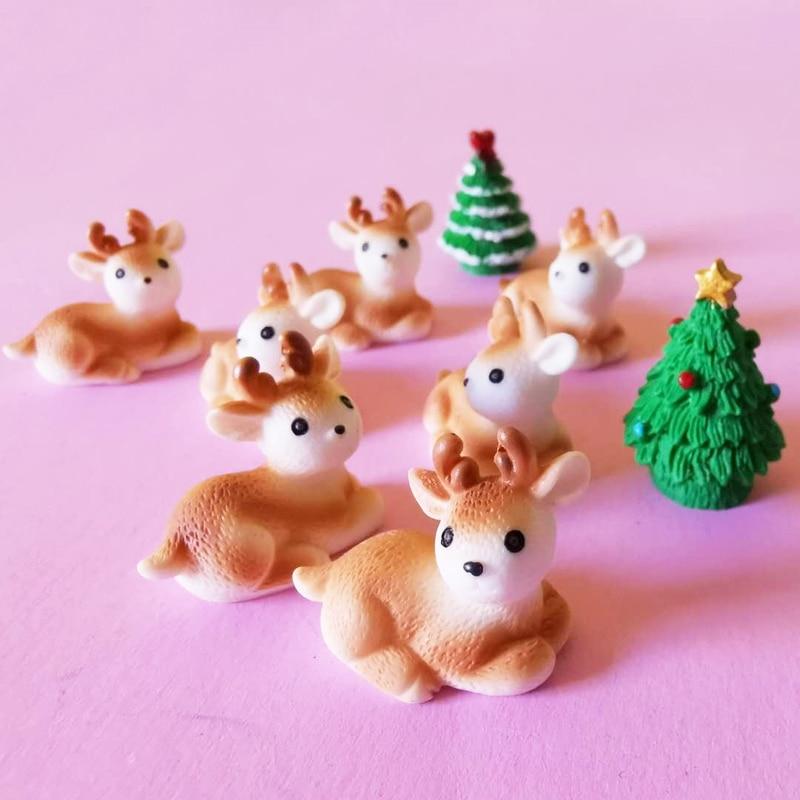 10 pcs deer/miniatures/lovely cute/fairy garden gnome/moss terrarium decor/crafts/bonsai/diy doll house/figurine/model/toy