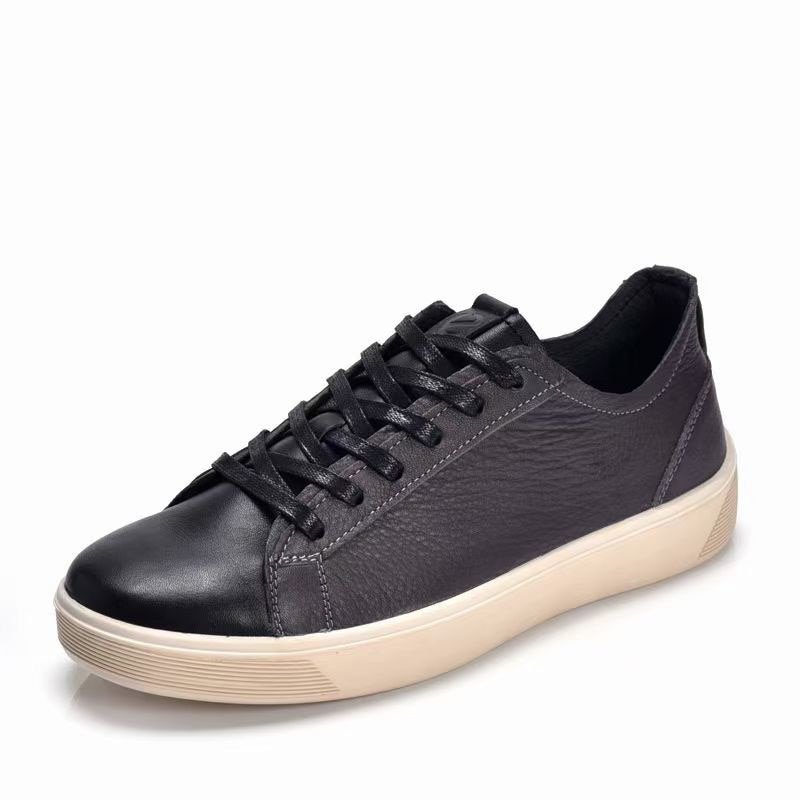 Best Selling Men Flats Sneakers Black Leather Shoes Mens Good Quality Casual Sneakers For Male Lace Up Men Youth Casual Shoes