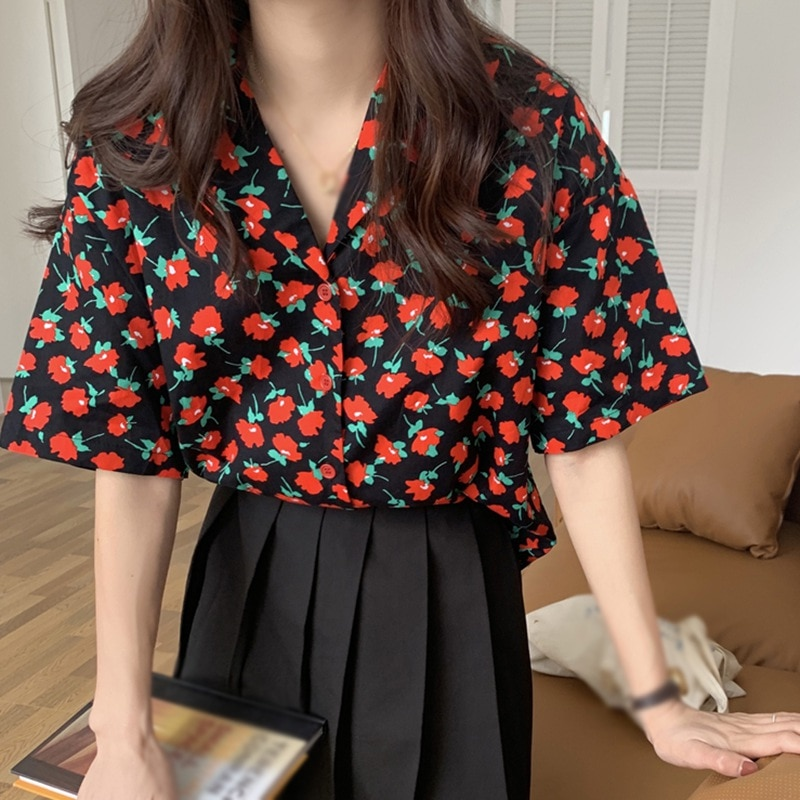 white floral print self tie wrap blouse Women's Floral Print Notched Casual Loose Short Sleeve Chiffon Blouse Shirt Black/White Tops