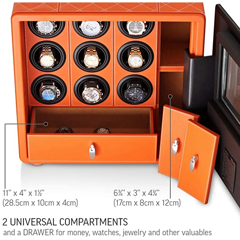 MELANCY Brand Theftproof Automatic Watch Winder Safe Box with 9 Slot Watches Box Drawer Collection with TPD 5 Mode Control enlarge