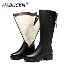 HABHUCKN 2020 nouvelle mode femmes en cuir véritable peau de vache hiver tout laine genou bottes grande taille 41 42 43 chaud bottes de neige femme